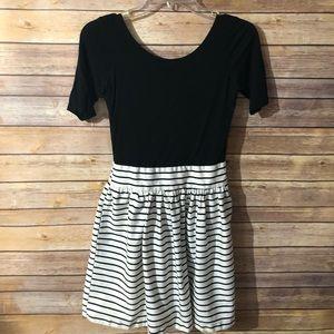 Aqua striped fit and flare dress